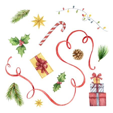 Watercolor vector Christmas set with fir tree branches, red decorations and gifts. Illustration for your holiday design isolated on a white background. Illusztráció