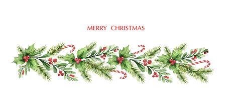 Ghirlanda di Natale di vettore dell'acquerello con rami di abete e bacche rosse. Illustrazione per biglietti di auguri e inviti isolati su sfondo bianco. Vettoriali
