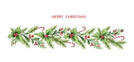 Watercolor vector Christmas garland with fir branches and red berries. Illustration for greeting cards and invitations isolated on white background. Vector Illustration
