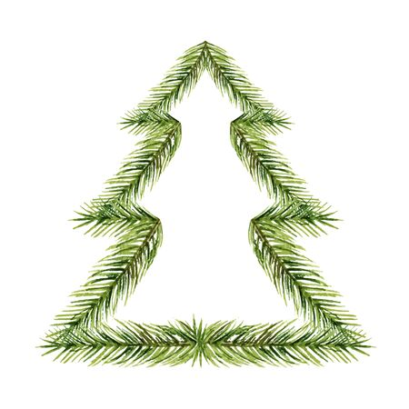 Watercolor  composition in the shape of a Christmas tree isolated on white
