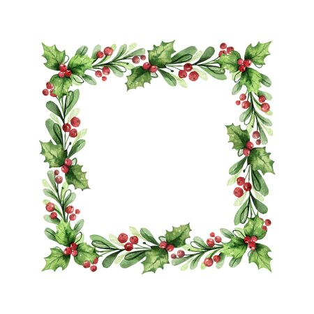 Watercolor vector Christmas wreath with green branches and red berries. Illustration for greeting floral postcard and invitations isolated on white background. Illustration
