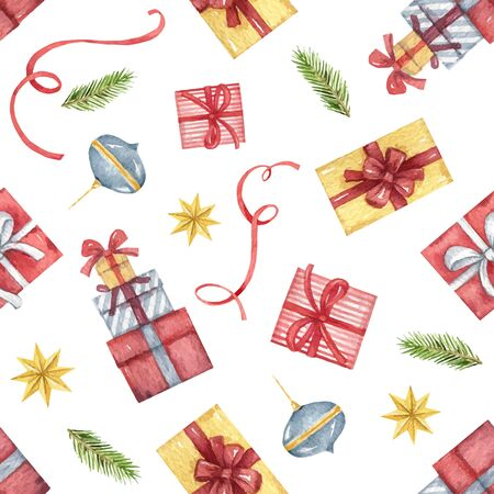 Watercolor vector seamless pattern with Christmas decorations. Illustration for greeting cards, textiles, packaging, invitations. Иллюстрация