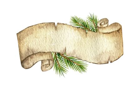 Watercolor  Christmas old scroll paper with fir branches and place for text. Banco de Imagens - 130152793