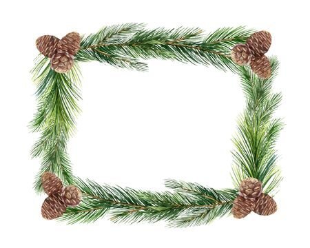 Watercolor vector green spruce frame with cones,Christmas holiday design. Illustration for greeting cards and invitations isolated on white background.