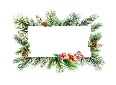 Watercolor  green spruce frame with cones and gifts, Christmas holiday design. Иллюстрация
