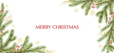 Watercolor vector Christmas banner with green pine branches and place for text. Holiday decoration for greeting cards, poster template and invitations isolated on white background. Illustration