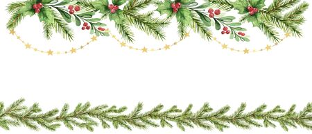 Watercolor vector Christmas garland with fir branches and red berries. Illustration for greeting cards and invitations isolated on white background. Иллюстрация