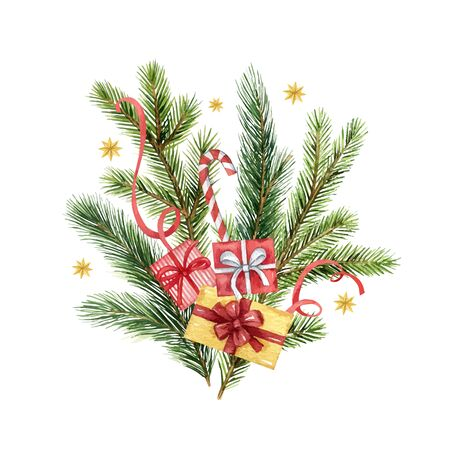 Watercolor vector Christmas bouquet with fir branches and gifts. Illustration for greeting floral postcard and invitations isolated on white background.