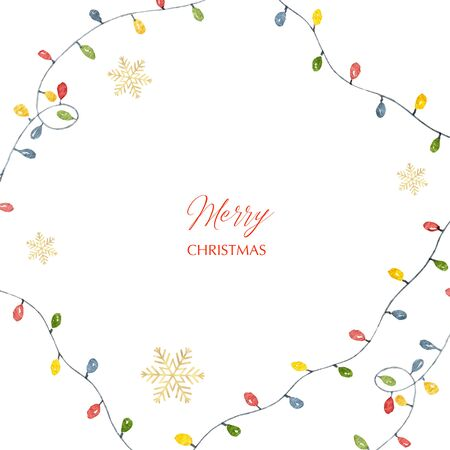 Watercolor  Christmas card with colorful garlands with Golden snowflakes.