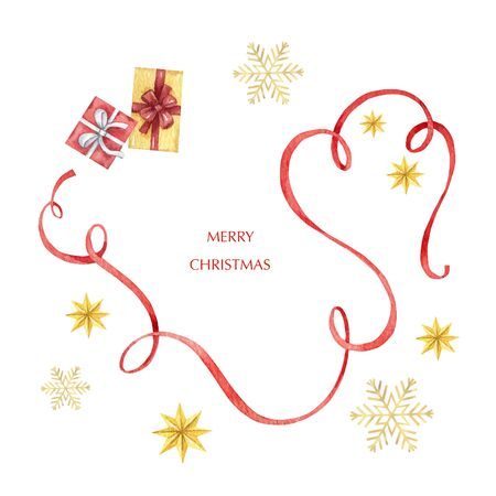 Watercolor  Christmas card with red ribbon, gifts, snowflakes and stars Imagens - 130152796