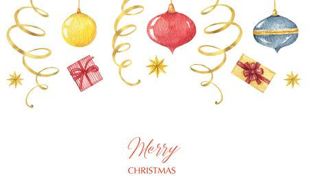 Watercolor Christmas banner with balls, garlands and gifts. Иллюстрация