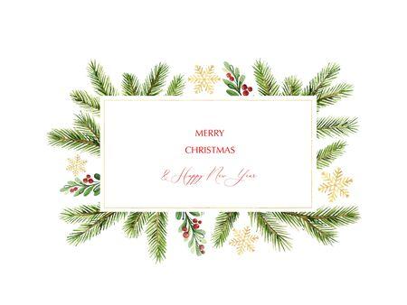 Aquarel vector kerst banner met groene dennentakken en plaats voor tekst. Vakantie decoratie voor wenskaarten, poster sjabloon en uitnodigingen geïsoleerd op een witte achtergrond.