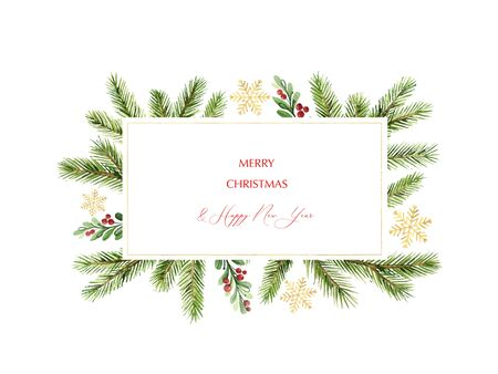 Banner de Navidad vector acuarela con ramas de pino verde y lugar para el texto. Decoración navideña para tarjetas de felicitación, plantilla de póster e invitaciones aisladas sobre fondo blanco.