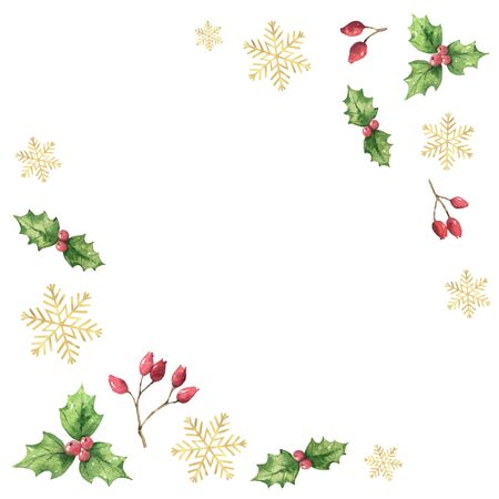 Watercolor vector Christmas card with green leaves, red berries and golden snowflakes. Illustration for greeting cards and invitations isolated on white background. Иллюстрация