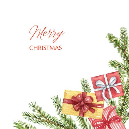 Watercolor Christmas card with fir branches and gifts. Иллюстрация