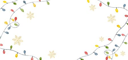 Watercolor vector Christmas card with colorful garlands with Golden snowflakes. Illustration for greeting cards and invitations isolated on white background.