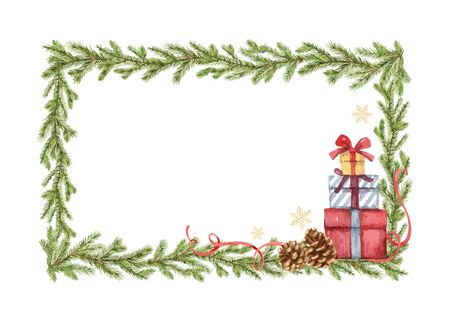 Watercolor vector Christmas frame with fir branches and gifts. Illustration for greeting floral postcard and invitations isolated on white background. Иллюстрация