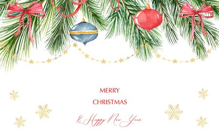 Watercolor vector Christmas banner with green fir branches, balls, snowflakes, red bows and garlands. Illustration for greeting cards and invitations isolated on white background.