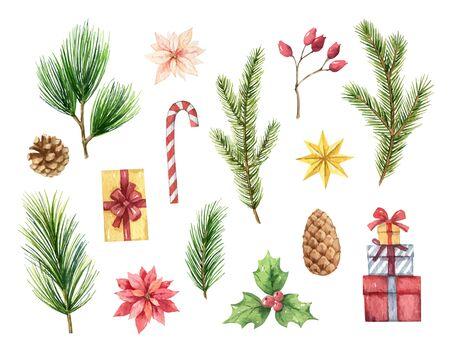 Insieme di Natale di vettore dell'acquerello con rami di abete, coni e regali. Illustrazione per il tuo design di vacanza isolato su uno sfondo bianco. Vettoriali