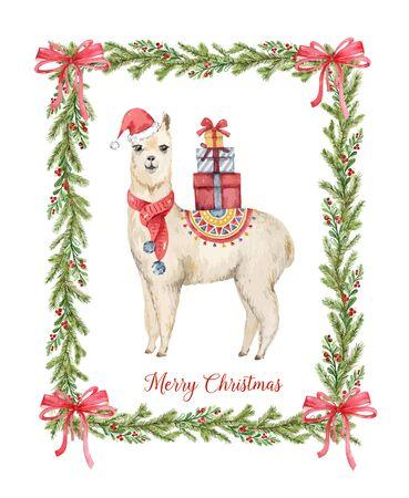 Watercolor Christmas card Llama or alpaca and fir branches. Иллюстрация
