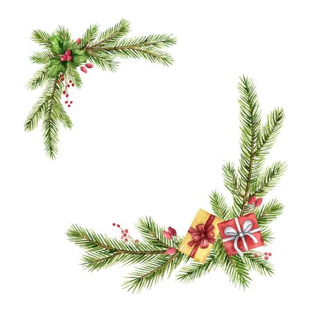 Watercolor Christmas frame with fir branches and gifts.