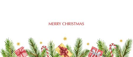 Watercolor  Christmas banner with fir branches and gifts. Иллюстрация