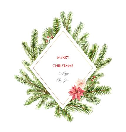 Watercolor  Christmas frame with fir branches, flowers of poinsettia and place for text.