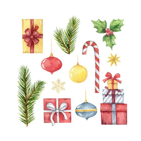 Watercolor  Christmas set with fir branches and festive decorations.