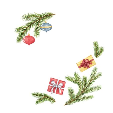 Watercolor  Christmas card with fir branches and festive decorations. Иллюстрация