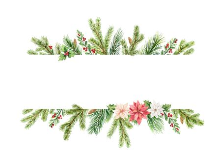 Watercolor vector Christmas banner with fir branches, flowers of poinsettia and place for text. Illustration for greeting cards and invitations. Colorful winter background.