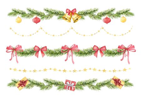Watercolor vector Christmas set of borders of spruce green branches and gifts.