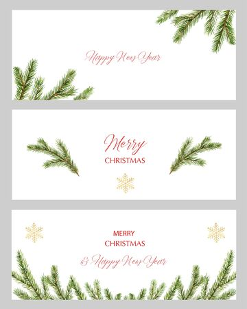Watercolor vector Christmas set of cards with green spruce branches and space for text. Illustration