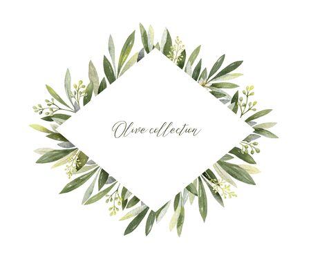 Aquarellvektorrahmen aus Olivenzweigen und Blumen.