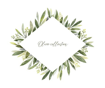 Watercolor vector frame of olive branches and flowers.