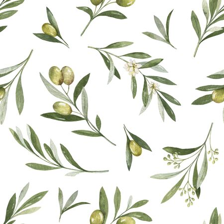 Watercolor  seamless pattern of olive branches and leaves.