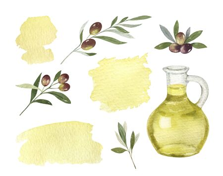 Watercolor vector set of glass bottle of olive oil, branches and spots.