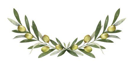 Aquarel vector krans van olijftakken en bessen.