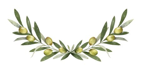 Watercolor vector wreath of olive branches and berries.