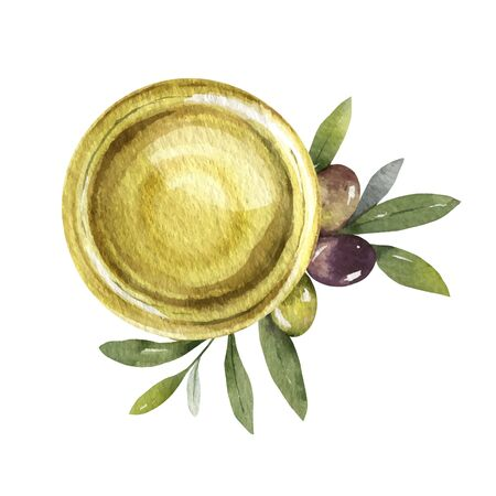 Watercolor  card with olive oil bowl and branches.