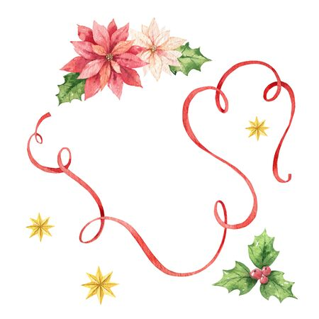 Watercolor Christmas card with red ribbon, poinsettia flowers and stars Vektorgrafik