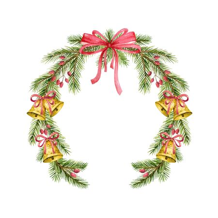 Watercolor vector Christmas wreath with fir branches, bells and red bow. Illustration for greeting floral postcard and invitations isolated on white background.