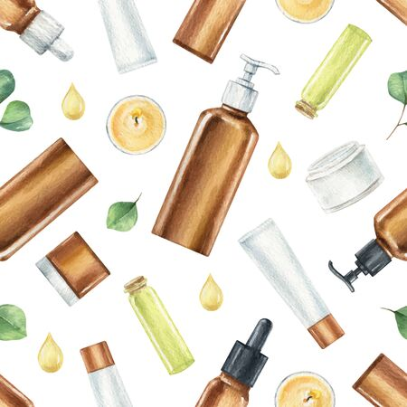 Watercolor vector seamless pattern of cosmetic products isolated on white background. Illustration with accessories for beauty salon and Wellness center.
