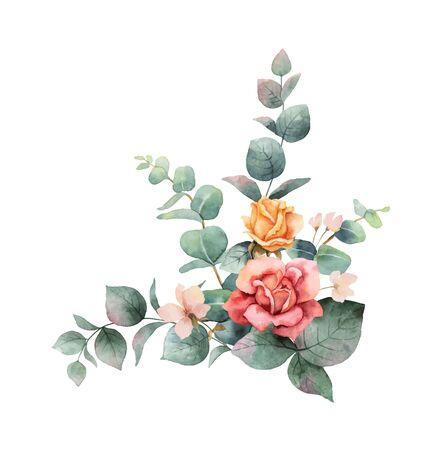 Couronne de vecteur aquarelle peinte à la main avec des feuilles et des fleurs d'eucalyptus vert.
