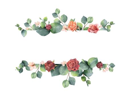 Watercolor vector hand painted banner with green eucalyptus leaves and flowers.