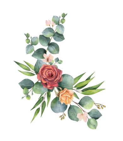 Watercolor vector hand painted wreath with green eucalyptus leaves and flowers. 向量圖像
