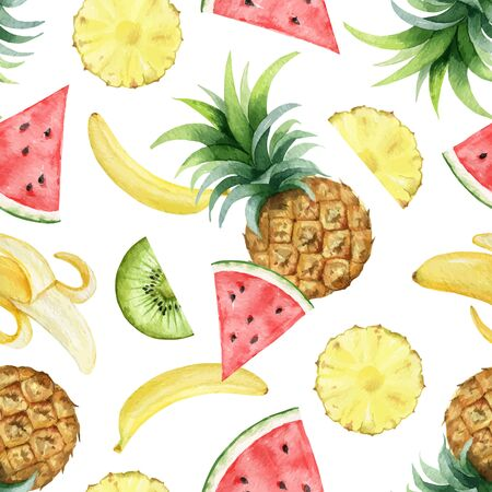 Watercolor vector seamless pattern of fresh fruit .