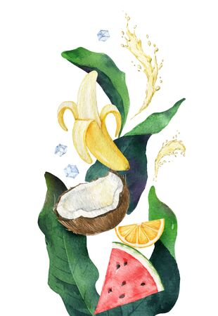 Watercolor vector composition of green tropical leaves, fruits and juice splashes. Illustration with fresh banana, coconut, watermelon, orange and juice splashes for menus, restaurants, desserts isolated on a white background.