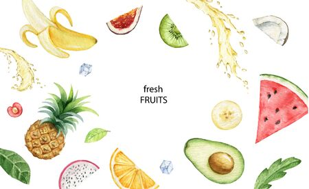 Watercolor vector hand painted card of exotic fruits and juice splashes. Fresh food design elements isolated on white background.