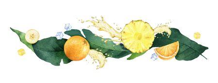 Aquarellvektorzusammensetzung aus grünen tropischen Blättern, Früchten, Saftspritzern und Eiswürfeln. Illustration mit frischer Banane, Ananas, Orange, Saftspritzern und Eiswürfeln für Menüs, Restaurants, Desserts auf weißem Hintergrund. Vektorgrafik