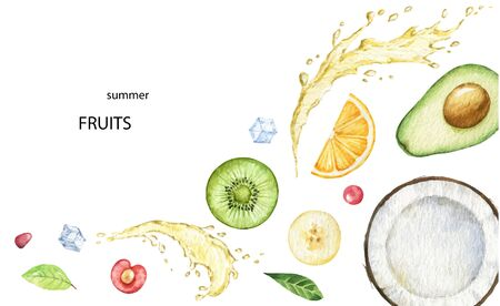 Watercolor vector hand painted card of exotic fruits. 向量圖像